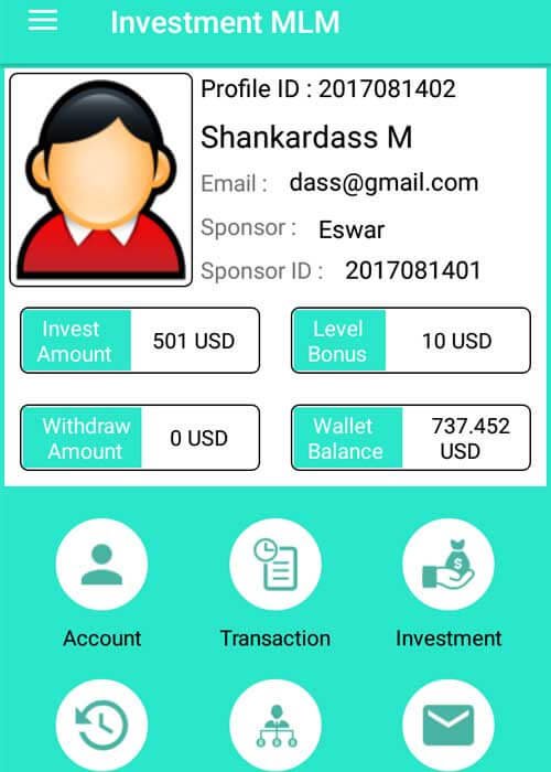 Investment MLM Android Application